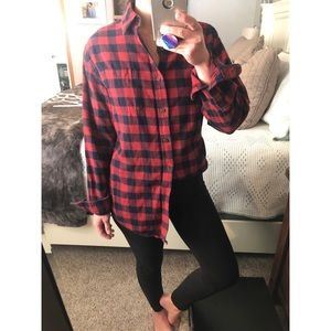 Tops - Red and Dark Navy blue flannel
